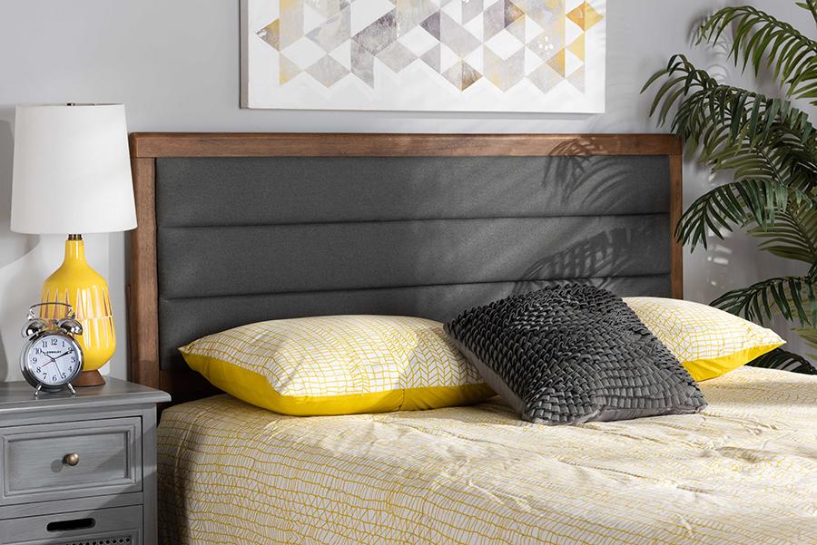 Dexter Dark Grey Fabric Walnut Wood King Headboard | Baxton Studio
