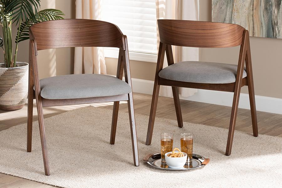 Danton Grey Fabric Walnut Wood 2-pc Dining Chair Set | Baxton Studio