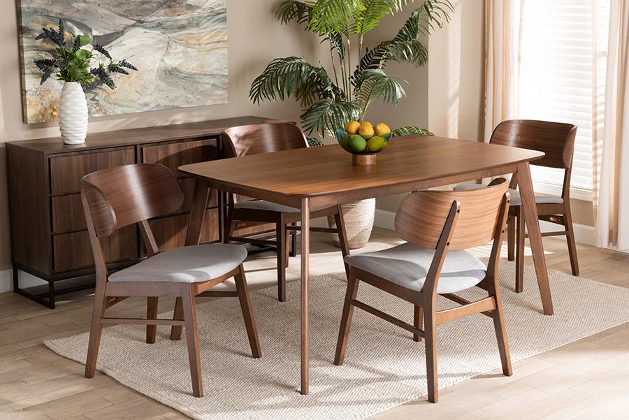Alston Grey Fabric Walnut Wood 5-pc Dining Set   Baxton Studio