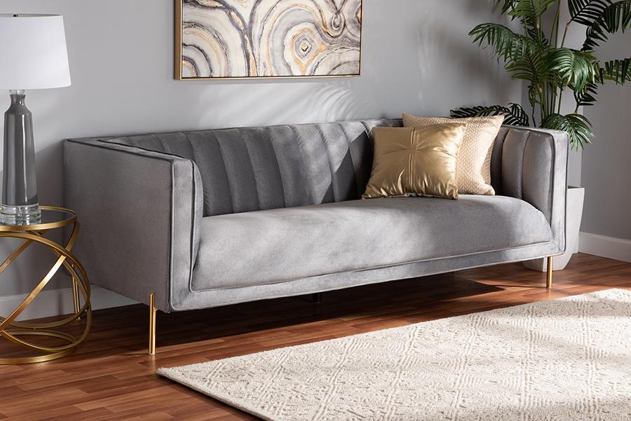Maia Grey Velvet Fabric Gold Metal Sofa | Baxton Studio