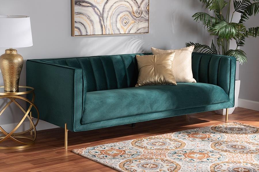 Maia Green Velvet Fabric Gold Metal Sofa | Baxton Studio