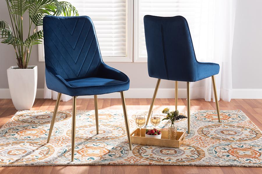Priscilla Navy Blue Velvet Fabric Gold Metal 2-pc Dining Chair Set | Baxton Studio