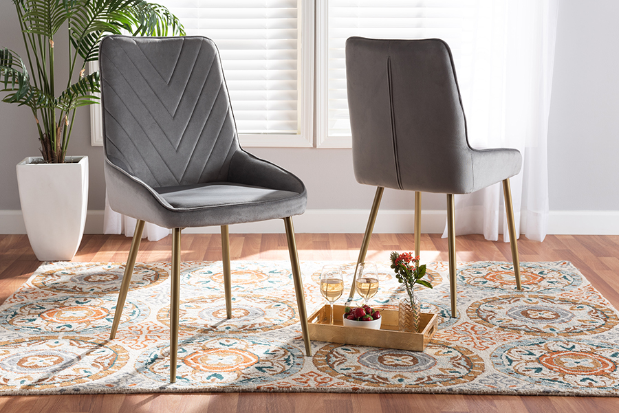 Priscilla Grey Velvet Fabric Gold Metal 2-pc Dining Chair Set | Baxton Studio