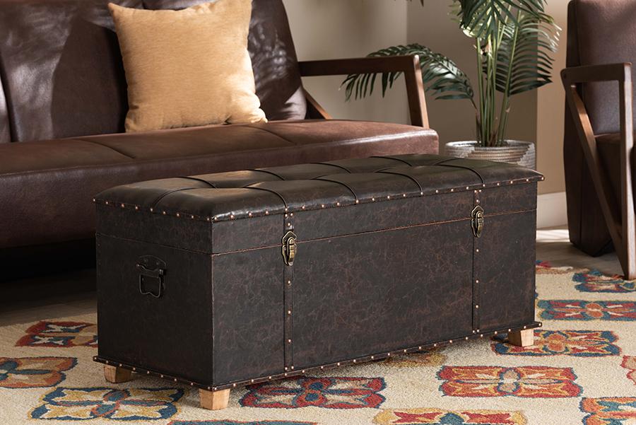 Janna Dark Brown Faux Leather Oak Brown Wood Storage Ottoman | Baxton Studio