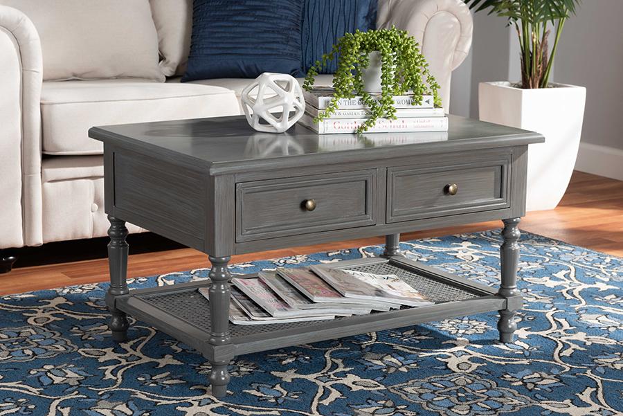 Sheldon Grey Wood 2 Drawer Coffee Table | Baxton Studio