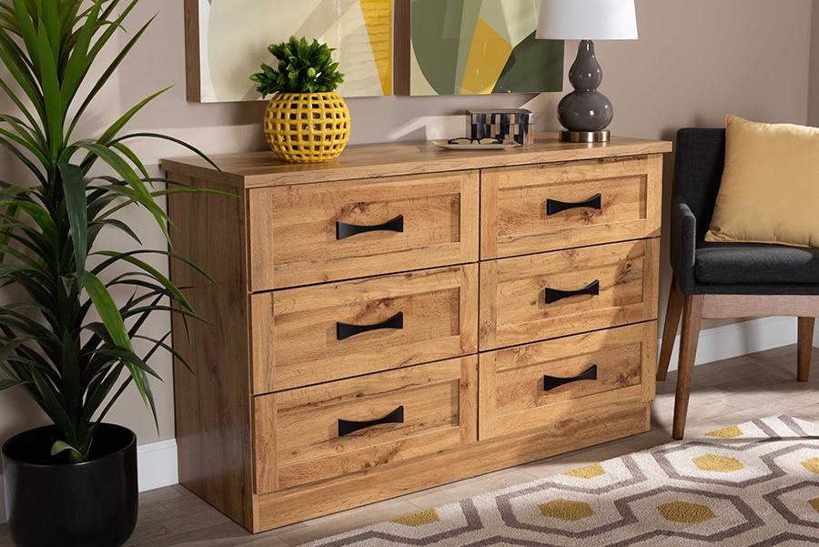 Colburn 6 Drawer Oak Brown Wood Storage Dresser | Baxton Studio