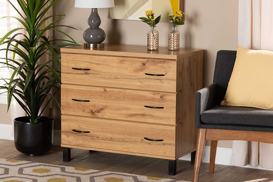 Maison Oak Brown Wood 3 Drawer Storage Chest   Baxton Studio