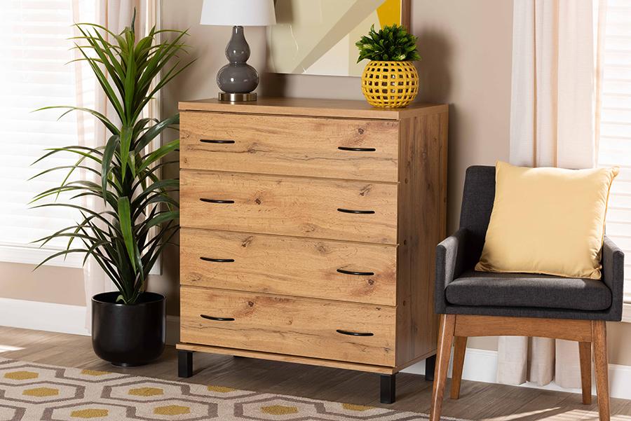 Maison Wotan Oak Brown Wood 4 Drawer Storage Chest | Baxton Studio
