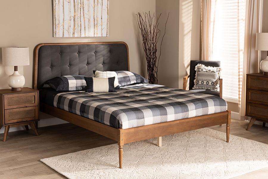 Diantha Dark Grey Fabric Walnut Wood Queen Platform Bed | Baxton Studio