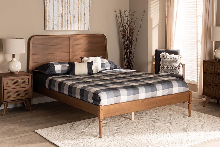 Kassidy Walnut Wood Queen Platform Bed | Baxton Studio