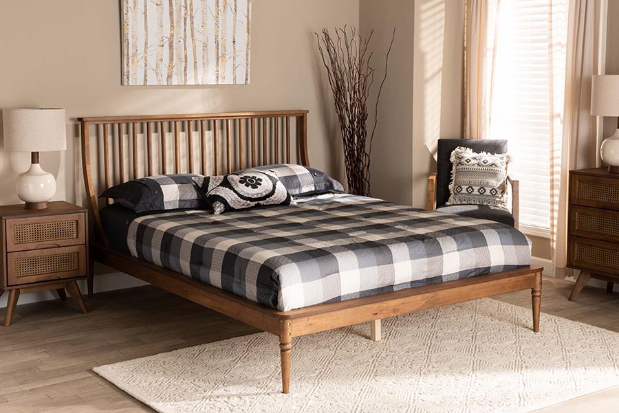 Abel Walnut Wood King Platform Bed | Baxton Studio