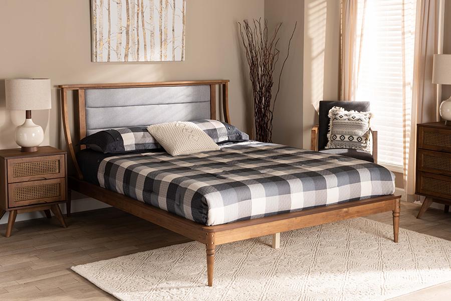 Regis Light Grey Fabric Walnut Wood King Platform Bed | Baxton Studio