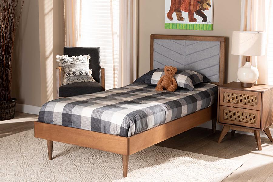 Tasha Light Grey Fabric Walnut Wood Twin Platform Bed | Baxton Studio