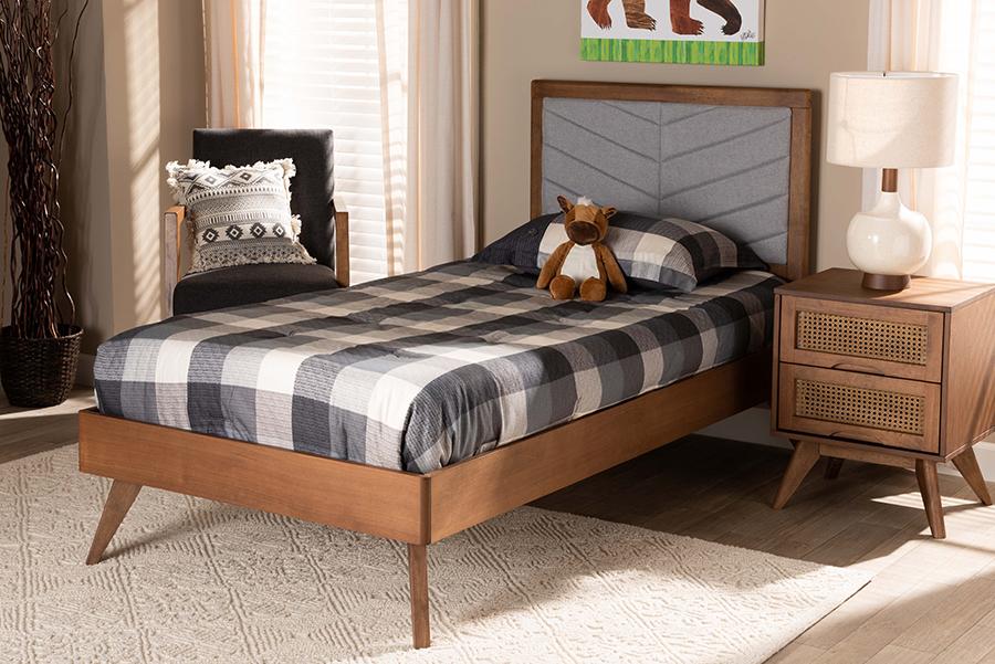 Roze Light Grey Fabric Walnut Wood Twin Platform Bed | Baxton Studio