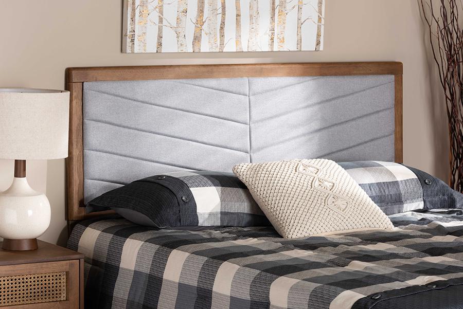 Iden Light Grey Fabric Walnut Wood King Headboard | Baxton Studio