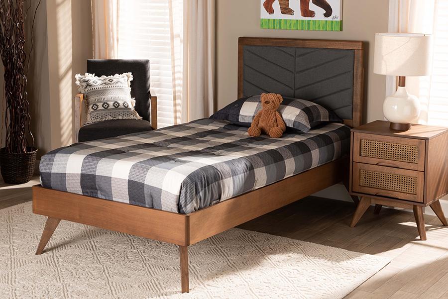 Roze Dark Grey Fabric Walnut Wood Twin Platform Bed | Baxton Studio