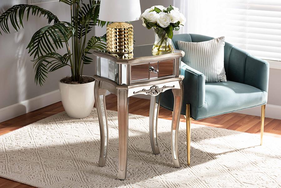 Elgin Silver Wood Mirrored Glass 1 Drawer Nightstand | Baxton Studio