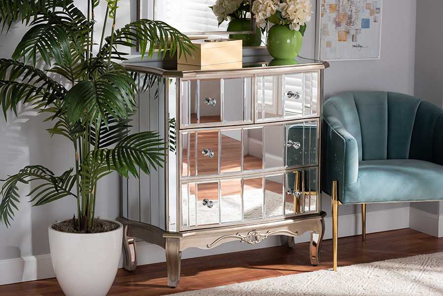 Elgin Silver Wood Mirrored Glass 4 Drawer Cabinet | Baxton Studio