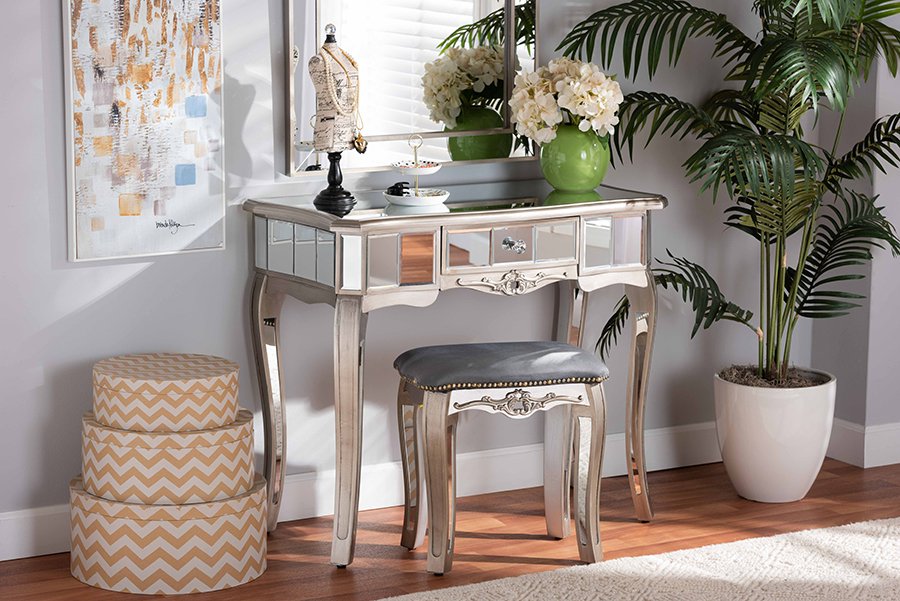 Elgin Silver Wood Mirrored Glass 1 Drawer Console Table   Baxton Studio
