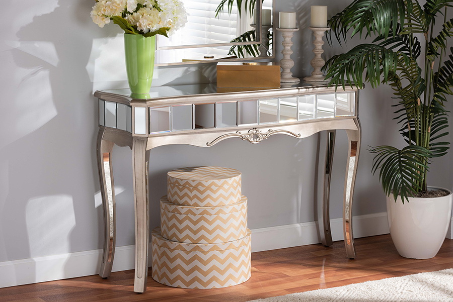 Elgin Silver Wood Mirrored Glass Console Table | Baxton Studio