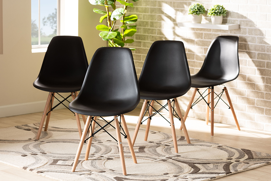 Jaspen Black Polypropylene Oak Brown Wood 4-pc Dining Chair Set | Baxton Studio