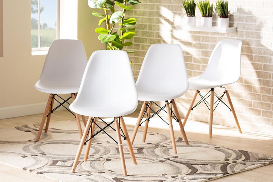 Jaspen White Polypropylene Oak Brown Wood 4-pc Dining Chair Set | Baxton Studio