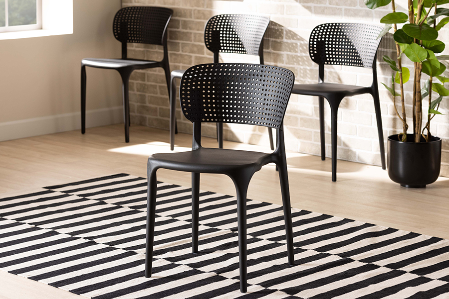 Rae Black Polypropylene 4-pc Stackable Dining Chair Set | Baxton Studio
