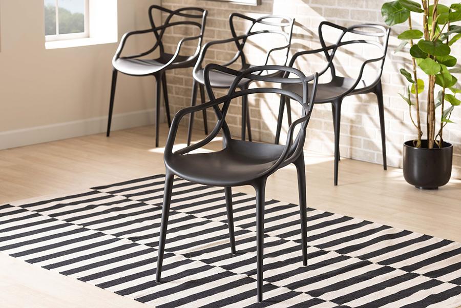 Landry Black Polypropylene 4-pc Stackable Dining Chair Set | Baxton Studio