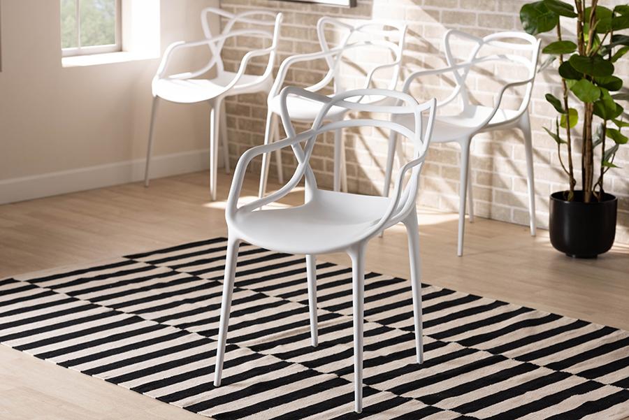 Landry White Polypropylene 4-pc Stackable Dining Chair Set | Baxton Studio