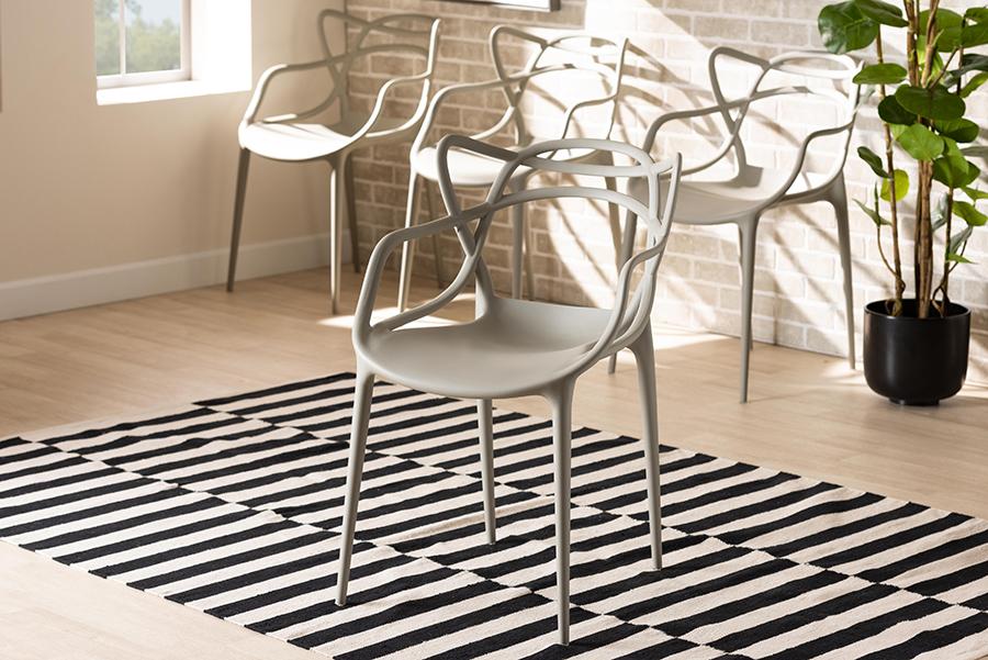 Landry Beige Polypropylene 4-pc Stackable Dining Chair Set | Baxton Studio