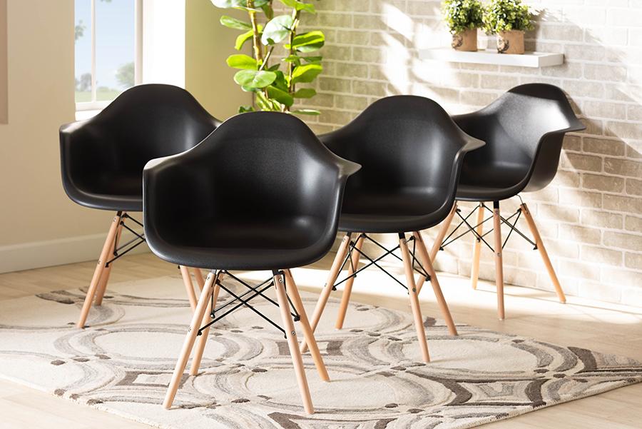 Galen Black Polypropylene Oak Brown Wood 4-pc Dining Chair Set | Baxton Studio