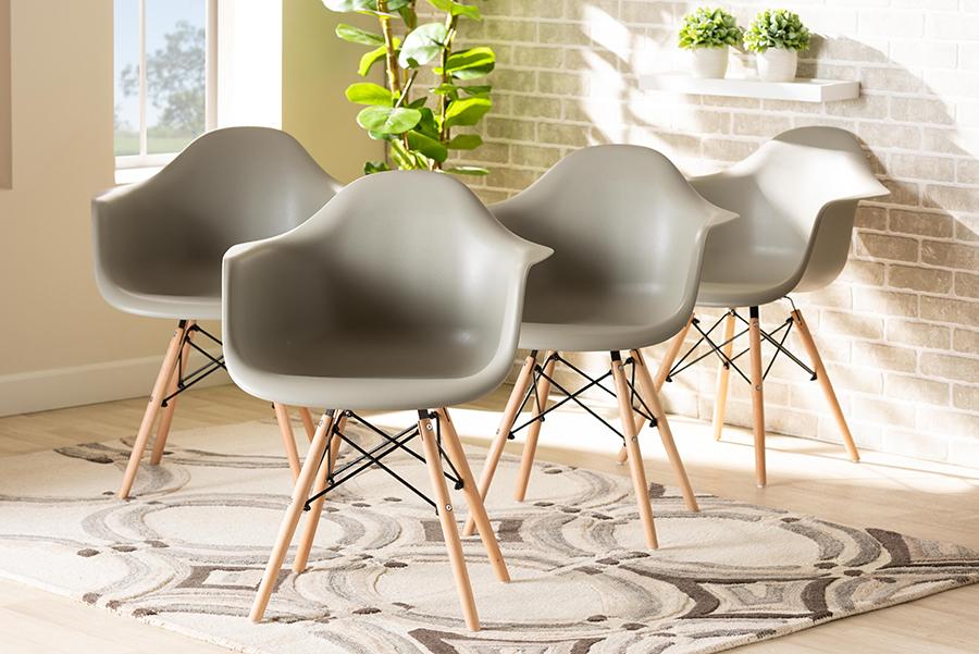 Galen Beige Polypropylene Oak Brown Wood 4-pc Dining Chair Set | Baxton Studio