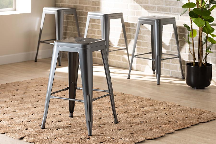 Horton Grey Metal 4-pc Stackable Counter Stool Set | Baxton Studio
