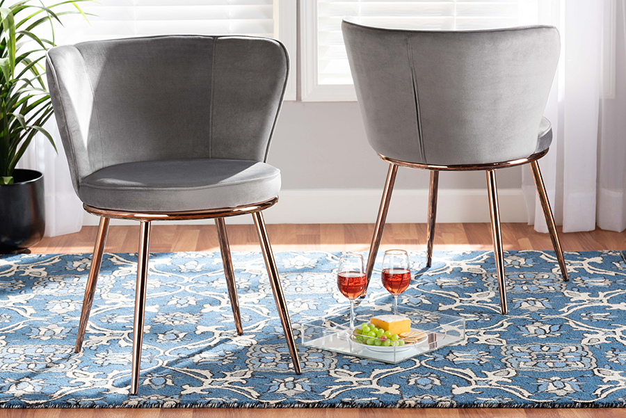 Farah Grey Velvet Fabric Rose Gold Metal 2-pc Dining Chair Set | Baxton Studio