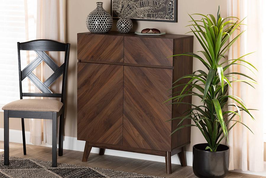 Hartman Walnut Wood Shoe Cabinet | Baxton Studio