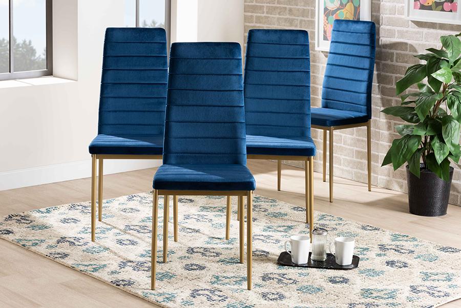 Armand Navy Blue Velvet Fabric Gold Metal 4-pc Dining Chair Set | Baxton Studio