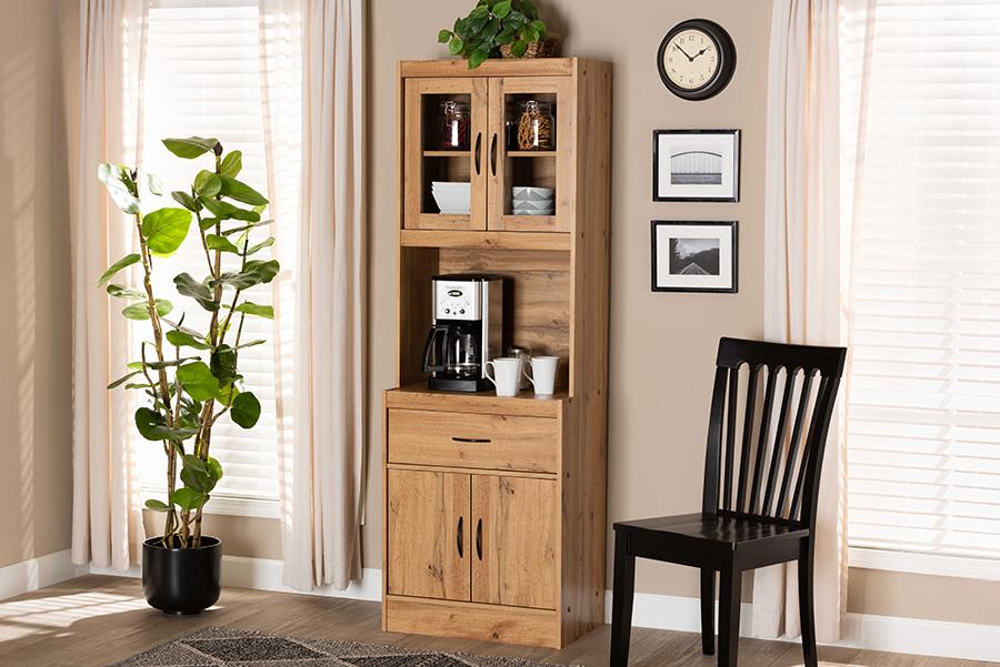 Laurana Oak Brown Wood Kitchen Cabinet Hutch | Baxton Studio