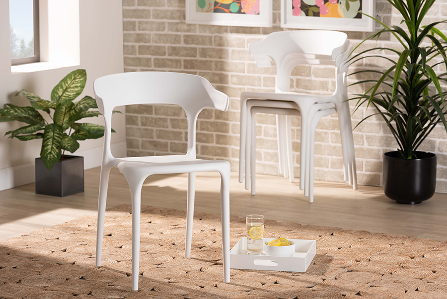 Gould White 4-pc Dining Chair Set | Baxton Studio