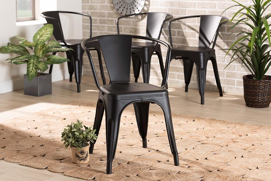 Ryland Black Metal 4-pc Dining Chair Set | Baxton Studio