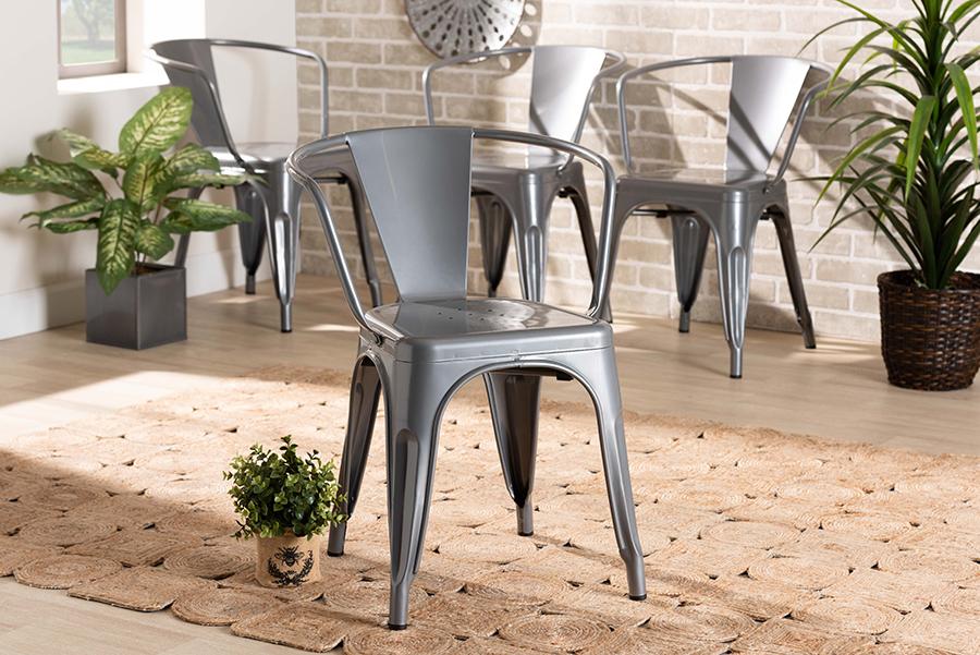 Ryland Grey Metal 4-pc Dining Chair Set | Baxton Studio