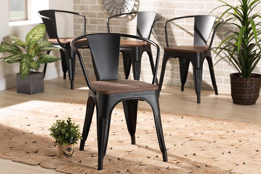 Ryland Black Metal Walnut Wood 4-pc Dining Chair Set | Baxton Studio