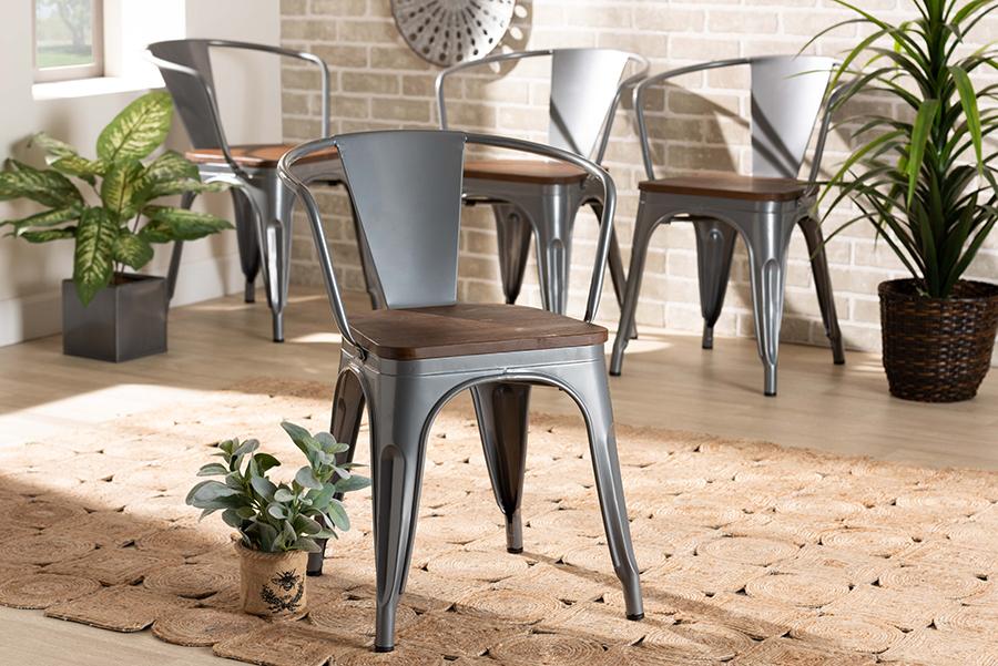 Ryland Grey Metal Walnut Wood 4-pc Dining Chair Set | Baxton Studio