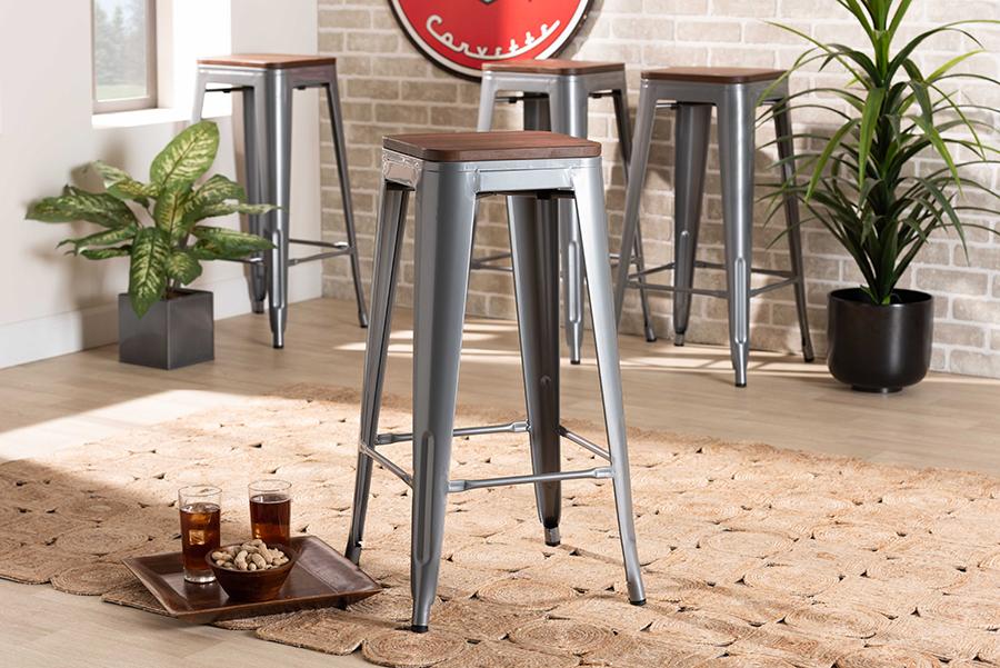Horton Grey Metal Walnut Wood 4-pc Bar Stool Set | Baxton Studio