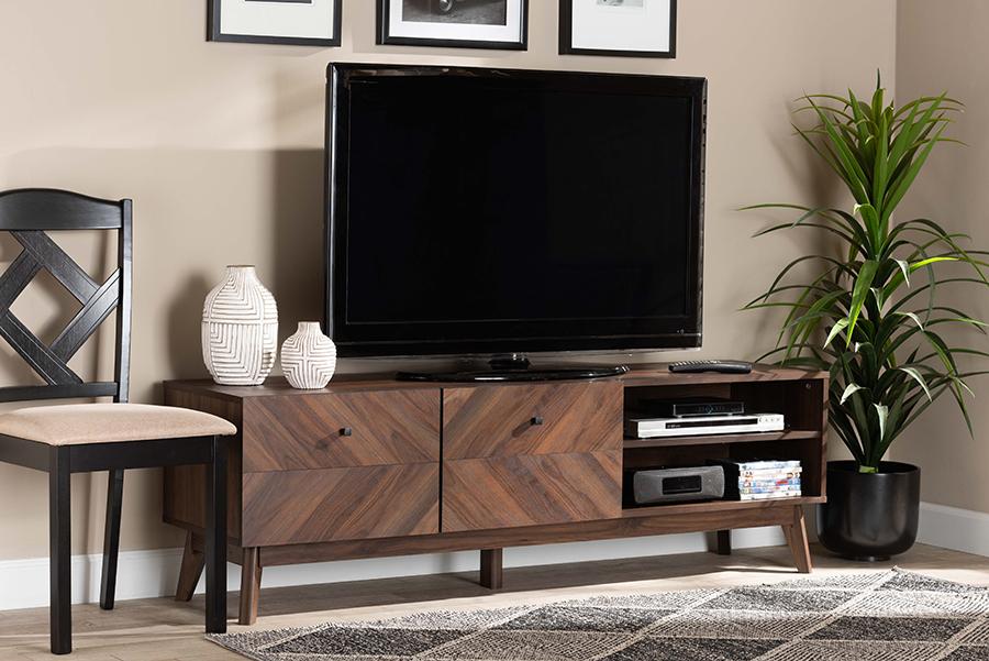 Hartman Walnut Wood TV Stand | Baxton Studio