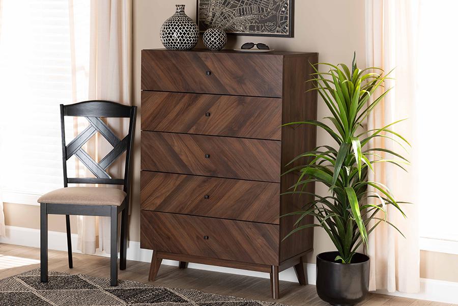 Hartman Walnut Wood 5 Drawer Storage Chest | Baxton Studio