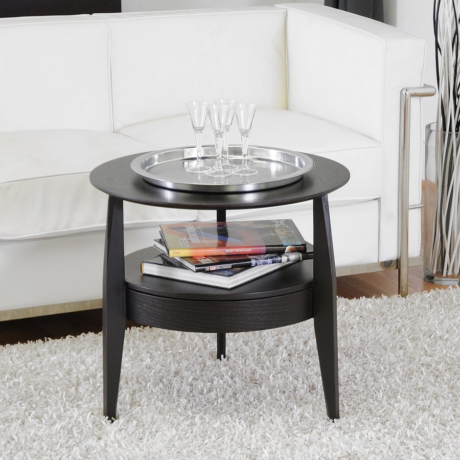 Black Wood Modern End Table With Drawer Modern Living Room Furniture CT 173