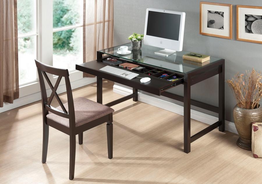 Idabel Dark Brown Wood Desk with Glass Top | Baxton Studio