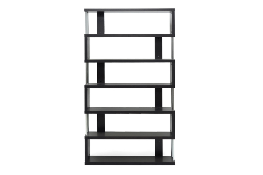 Barnes Dark Brown Six Shelf Bookcase | Baxton Studio