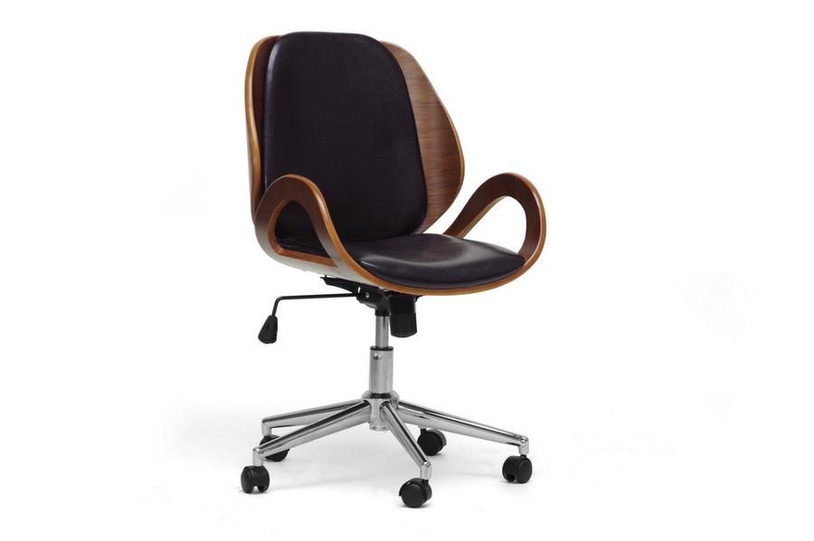 Watson Walnut Black Office Chair | Baxton Studio