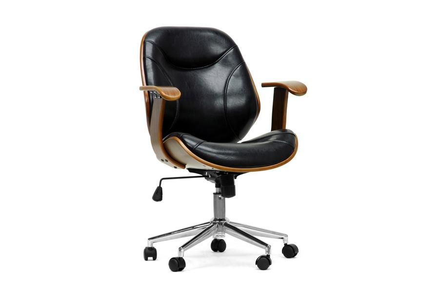 Rathburn Walnut Black Office Chair | Baxton Studio
